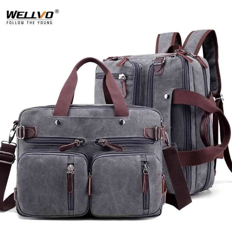 Men Canvas Bag Large Briefcase Travel Suitcase Messenger Shoulder Tote Handbag Big Casual Business Male Laptop Bag XA162ZC