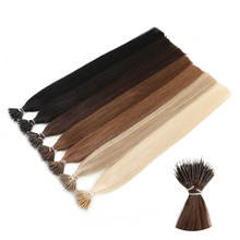 MRSHAIR Nano Rings Micro Ring 100% Human Hair Extensions Non-remy Hair Brown Blonde Pure Color 50/200pc 12 16 20 24 Inch(China)