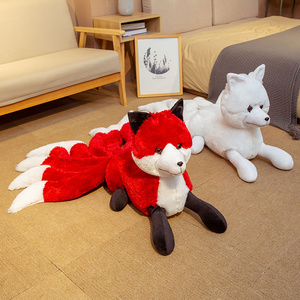 Image 4 - Super Cute Soft White Red Nine Tails Fox Plush Toy Stuffed Animals Nine Tailed Fox Kyuubi Kitsune Dolls Creative Gifts for Girls