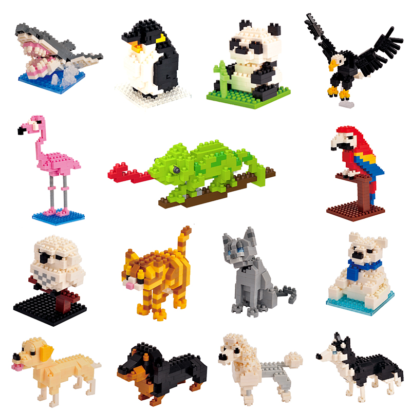 Kids Toy Mini Building Blocks Micro Bricks Eagle Moose Dog Cat Bird Animals 3D Model Bag Gifts Educational Toys For Children