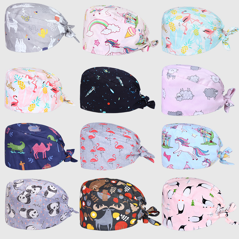 Clearance Patterns OR Surgical Caps Medical Scrub Caps Women Men Veterinarian Nurse Doctor Work Hats Dentist Hospital Skull Cap