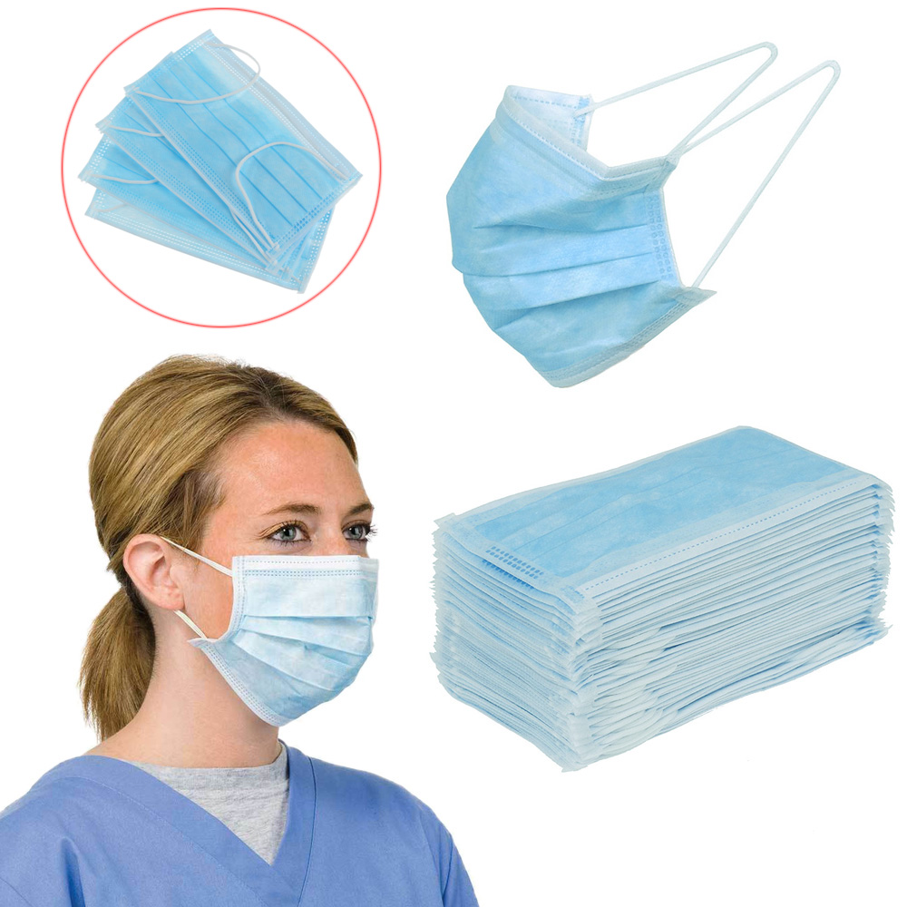 Blue Prevent Bacteria Mouth Face Mask Disposable Non-Woven 3-layer Filter Unisex Anti-dust Mouth Nose Proof Mask
