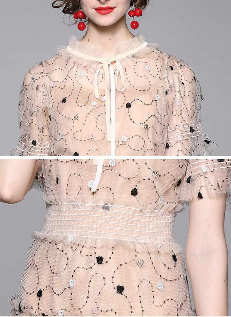 9 sommer Mode Elegante Designer Kleid Frauen Kurzarm Mesh Stickerei  Pailletten Kleider Vestidos