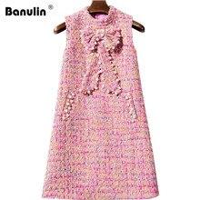 2019 Autumn Winter Tweed Dress Ladies Sleeveless Slim Fit Pocket Women Color Plaid Bow Beading Pearl Casual Woolen Vest Dress недорого