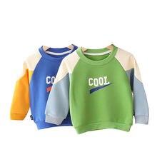 Модная Осенняя футболка с длинным рукавом для мальчиков и малышей