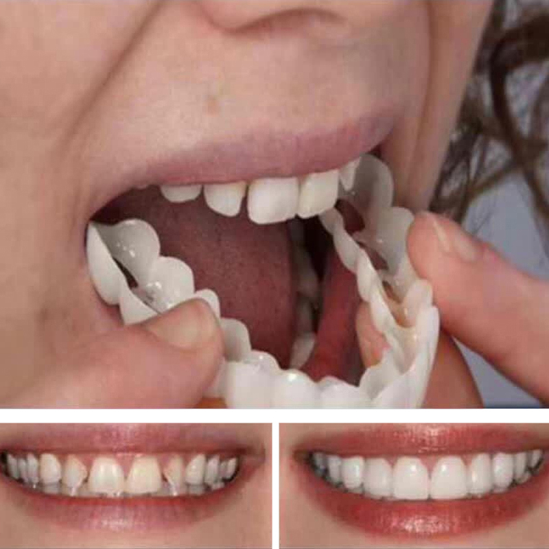 3PCS Denture Teeth Whitening Fake Tooth Cover Comfort Fit Snap On Silicone Beauty Veneers Teeth Upper Cosmetic Teeth(China)
