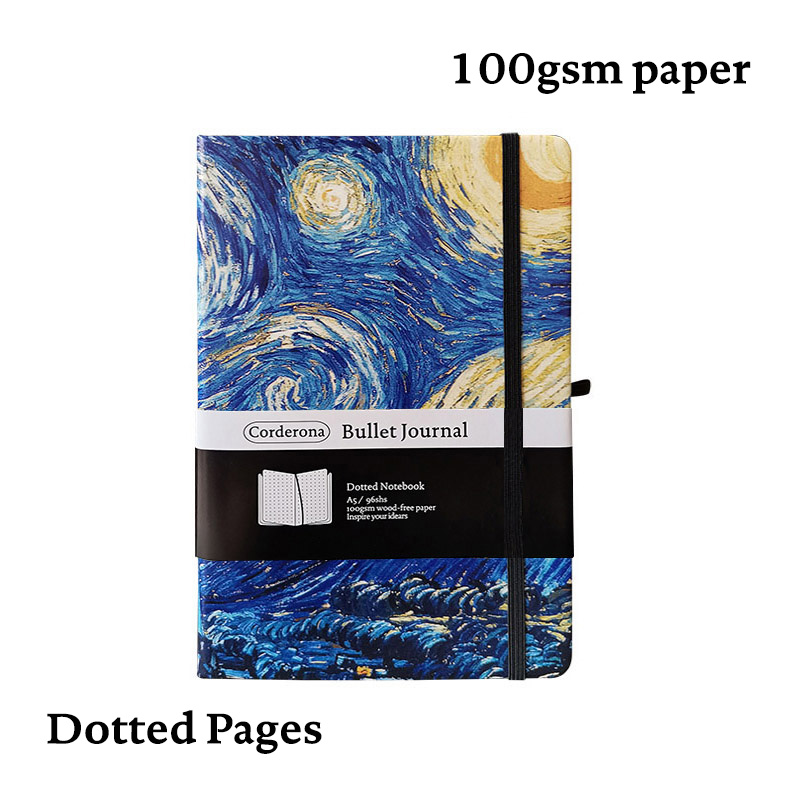 Dot Grid Bullet Journal Hard Cover A5 Van Gogh Painting Starry Night Blossoming Almond Tree Notebook Simple Dotted Bujo