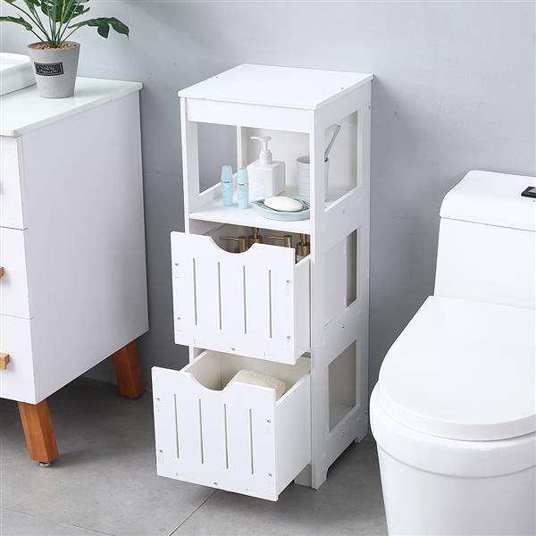 Three-Layer Two-Drawer Shelf Wooden Floor Standing Storage Cabinet For Bathroom Living Room