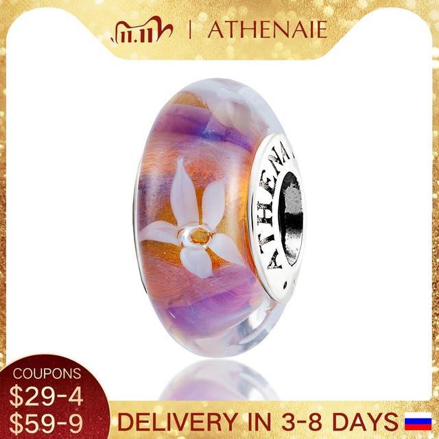 ATHENAIE verre Murano authentique, noyau en argent 925, fleurs de jasmin breloque à perles, Europea Bracelets à breloques, collier couleur violet