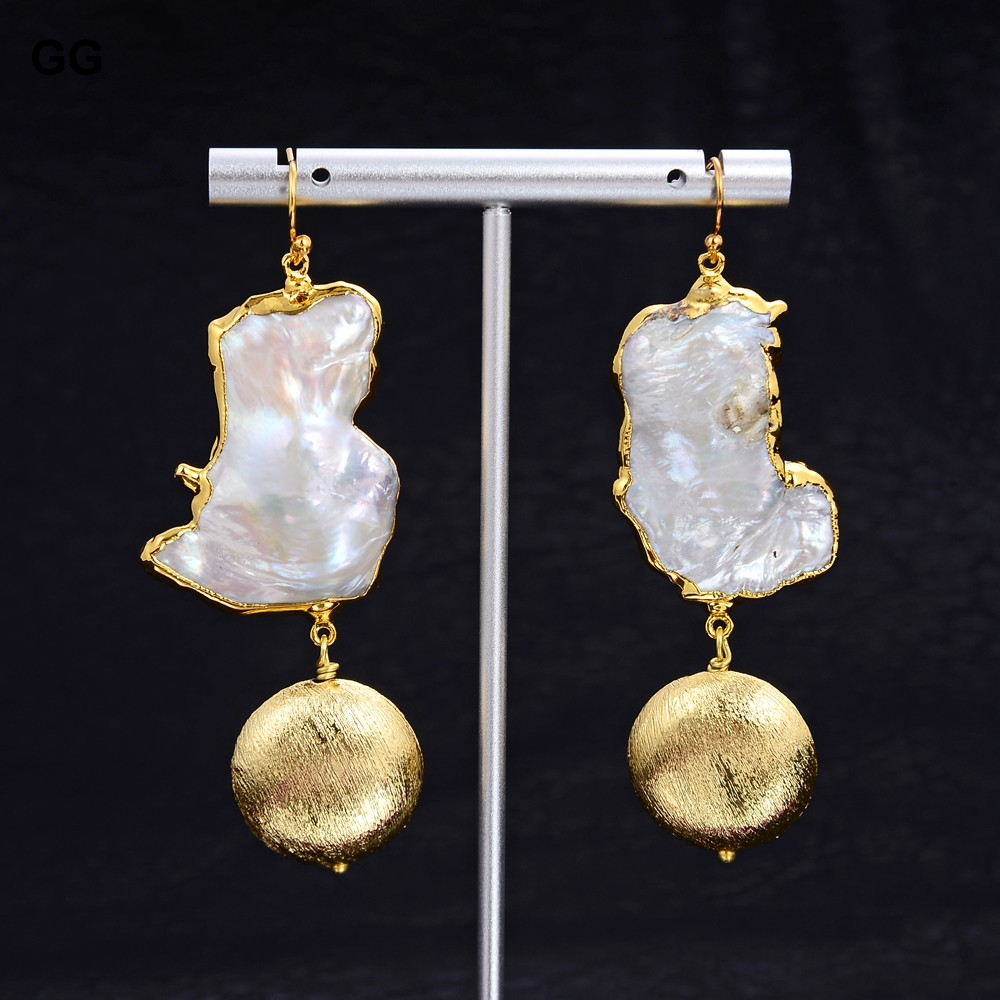 GG Jewelry-pendientes de gancho chapados en oro y Perla Keshi, joyería Natural