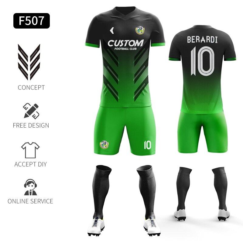 Custom Football Jerseys Full Sublimation Printing Soccer Jerseys Club Team Football Training Uniform Suit Soccer Uniform For Men 19
