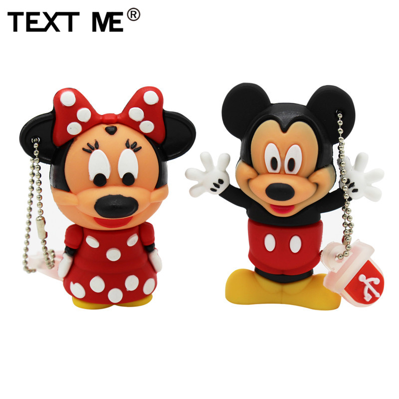 TEXT ME Cartoon 4GB Mickey Minnie Usb Flash Drive Usb 2.0  8GB 16GB 32GB 64GB Pendrive Gift U Disk