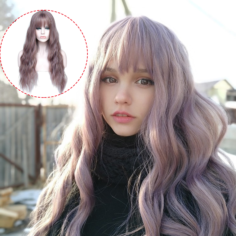 AILIADE Synthetic Non Lace Wig  26inches Long Curly Wavy With Bangs Non Remy Hair Natural Hair Cosplay Wigs For Women Headwear