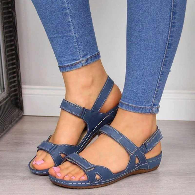 Wenyujh Giày Sandal Nữ Mùa Hè Giày Người Phụ Nữ Peep-Toe Wedge Thoải Mái Giày Slip-On Đế Bằng Nữ Sandalias 2020