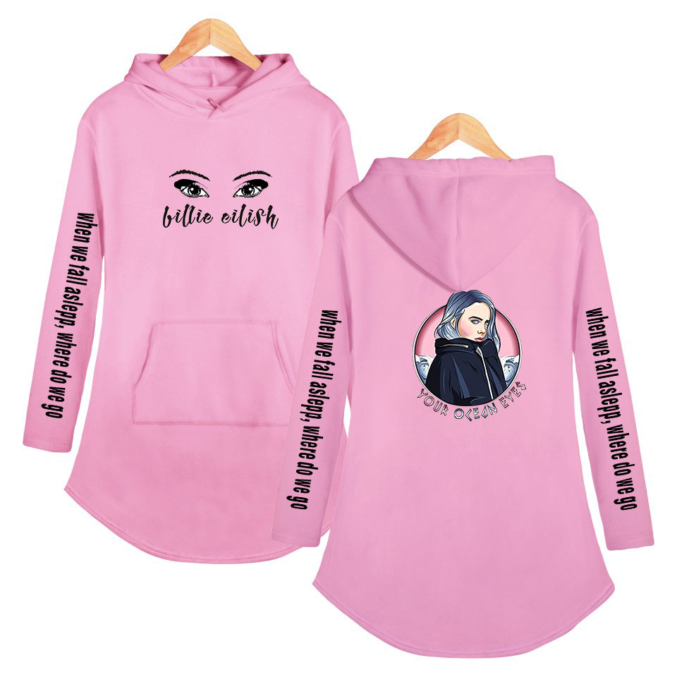 Billie Eilish Dress With Hood For Women Elish Casual Jumpsuit Pink White Spring Teddy Girls Hoodie Fan Fashion Clothing Xxs Xxl