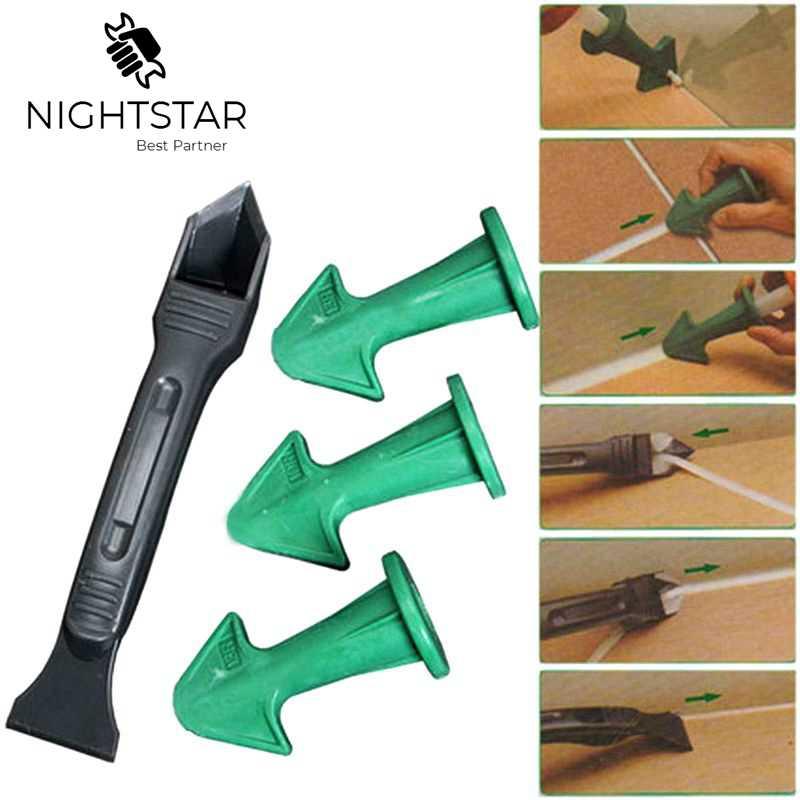 4Pcs 3 In1 Hot Silicone Caulking Finisher Sealant Cement Scraper Nozzle Spatulas Tools Woodworking Tools /Color Random
