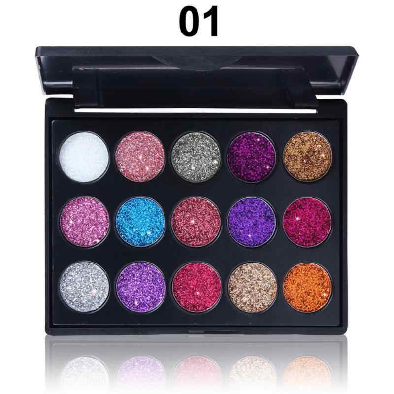 15 Warna Glitter Eye Shadow Pallet Pigmen Profesional Eye Makeup Palet Tahan Lama Membuat Eyeshadow Palet TSLM1