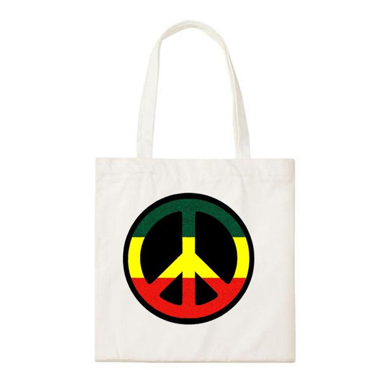 Reggae Rastafari Zion Lion Pattern Love And Peace Logo Print Daily Canvas Shopping Bag Handbags School Bags