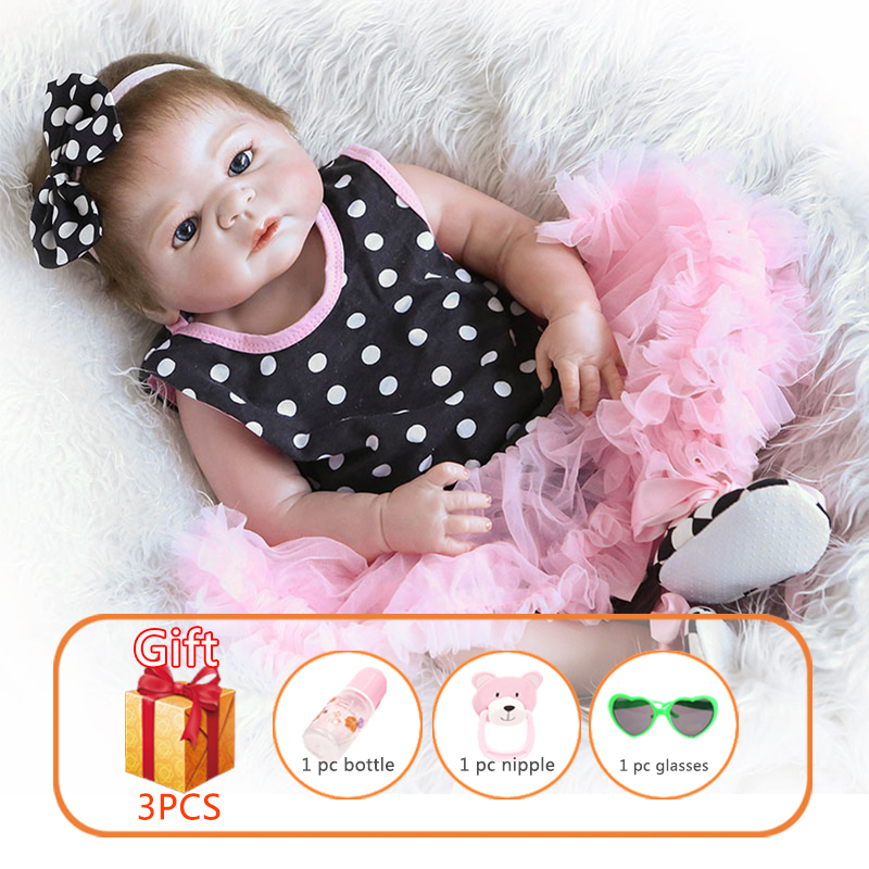 57cm NPK Bebe Reborn Baby Doll Whole Silicone Dolls Soft Simulate real Girl With Black Spot Can Be Washed Toys For Children