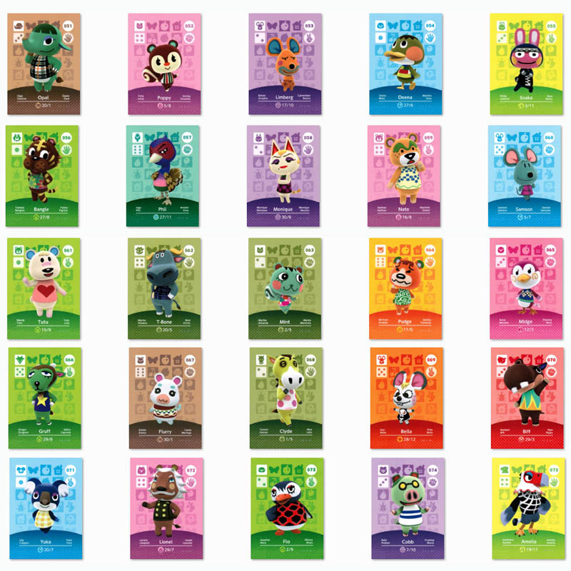 (051 To 075) Animal Crossing Card Amiibo Printed NFC Card Compatible Pick From The List