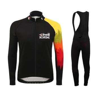 Cinelli-ropa de ciclismo profesional para hombre, jersey de manga larga de lana...