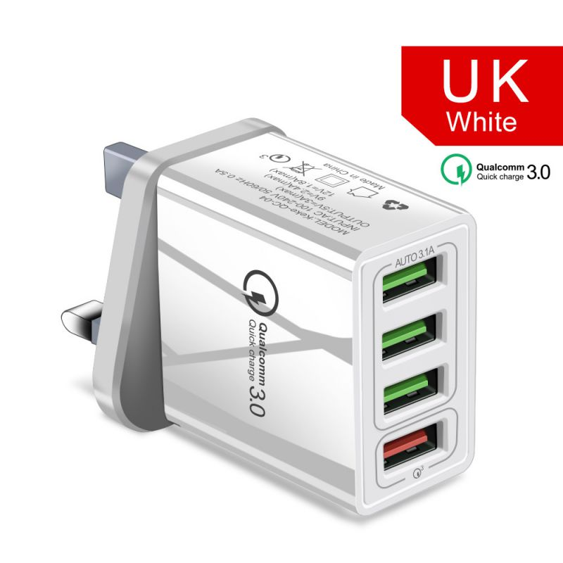 <font><b>QC3.0</b></font> <font><b>4</b></font> <font><b>Port</b></font> <font><b>USB</b></font> Charger Quick Charge Wall Charger EU US UK Standard Power Adapter image