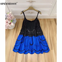 SPENNEOOY Designer Custom Runway Women Summer Solid Backless Spaghetti Strap Dress Ladies Beading Sequined Boho Mini Dresses