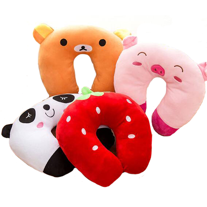 Baby Pillow Multi-Animals Design Plush Super Soft Kids Headrest   Neck Protector Travel Toys For 0-4 Years YYT101