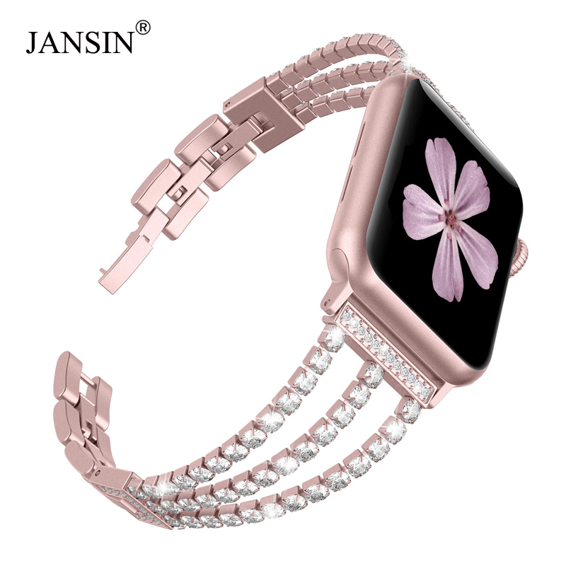 JANSIN New Women Diamond Watch Band for Apple Watch 38mm 42mm 40mm 44mm iWatch Series 5 4 3 Stainless Steel strap Sport Bracelet image