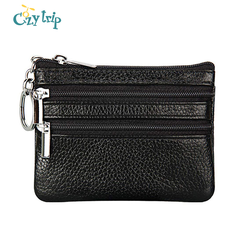 Luxury Genuine Leather Coin Purse Travel Mini Cow Leather 3 Zip Wallet 4 Pocket Pouch With Key Ring For Women