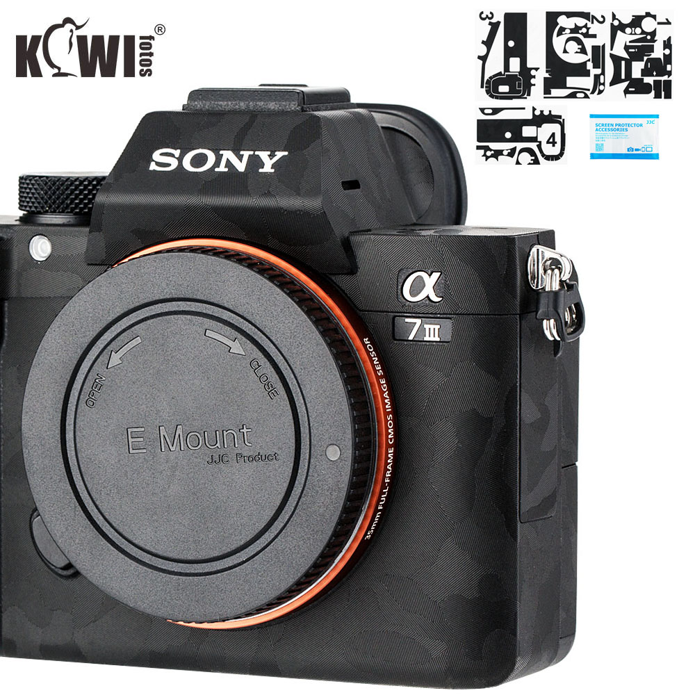 Kiwi Camera Body Protective Skin Film Kit For Sony A7 III A7R III A7III A7RIII A7M3 A7R3 Anti-Scratch 3M Sticker Shadow Black