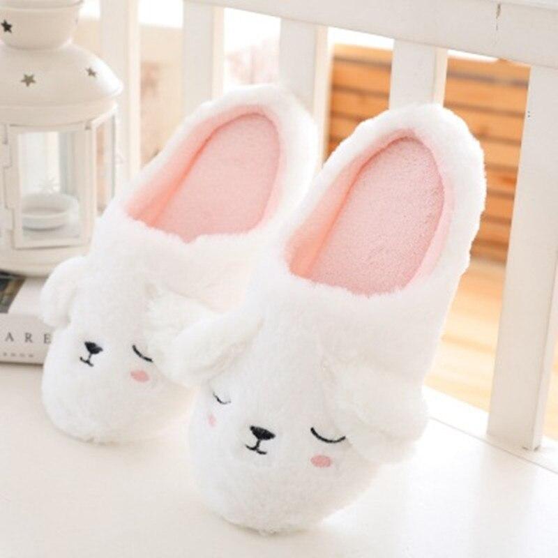 FAYUEKEY 2020 Autumn Winter Cartoon Animals Home Cotton Plush Warm Slippers Women Indoor Floor Flat Shoes Girls Christmas Gift 5