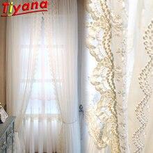 Роскошные элегантные кружевные тюлевые шторы для гостиной белые