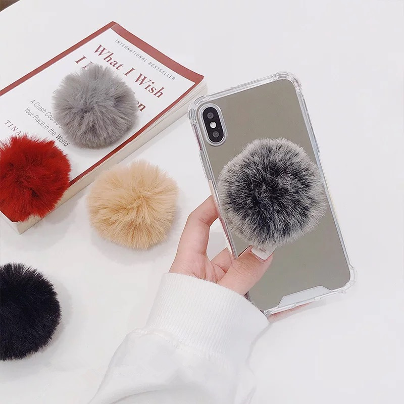 Colorful Cell Phone Holder Stand Phone Accessory Universal Ring Bracket Cute Plush Ball Mobile Phone Bracket For Iphone Huawei
