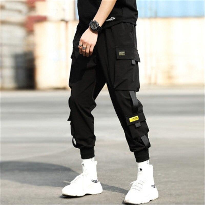 Multi-Pocket Cargo Pants Men Harajuku Hip Hop Streetwear Joggers Man Elastic Waist Sweatpants Techwear