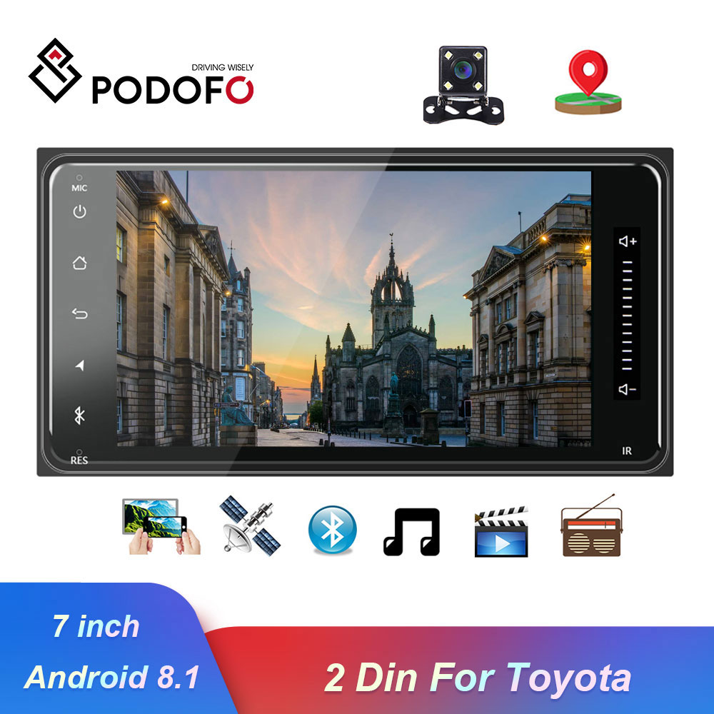 Podofo <font><b>2</b></font> <font><b>Din</b></font> Android 8.1 Car Multimedia Player Car Radio Player Stereo 7'' GPS Auto Audio Radio Bluetooth Autoradio For Toyota image