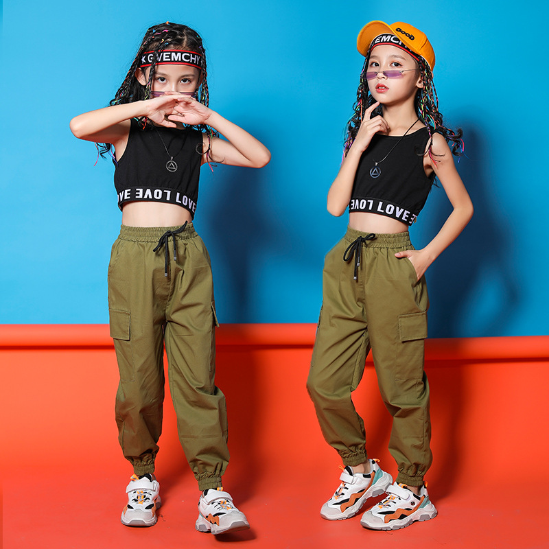 Girls Hip Hop Clothing Black Top Crop Vest Running Pants For Jazz Dance Costumes Ballroom Dancing Clothes 8 10 12 14 16 Years
