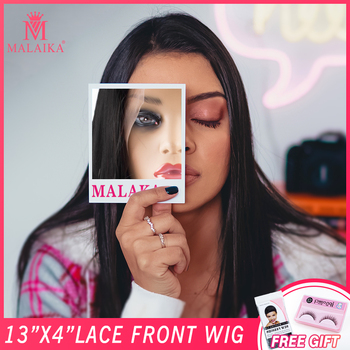MALAIKA lace front human hair wigs for black Women brazilian natural straight long lace frontal Wig 26 inch pre plucked