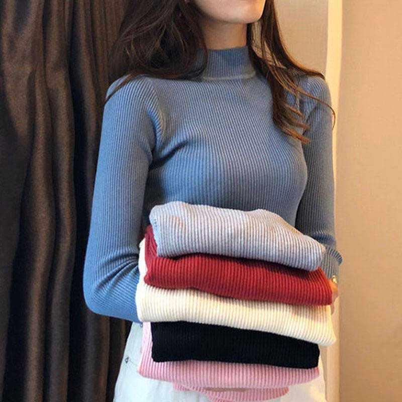 Nicemix Casual Gebreide Coltrui Vrouwen 2019 Herfst Winter Koreaanse Blauw Trui Vrouwelijke Tricot Jumper En Trui