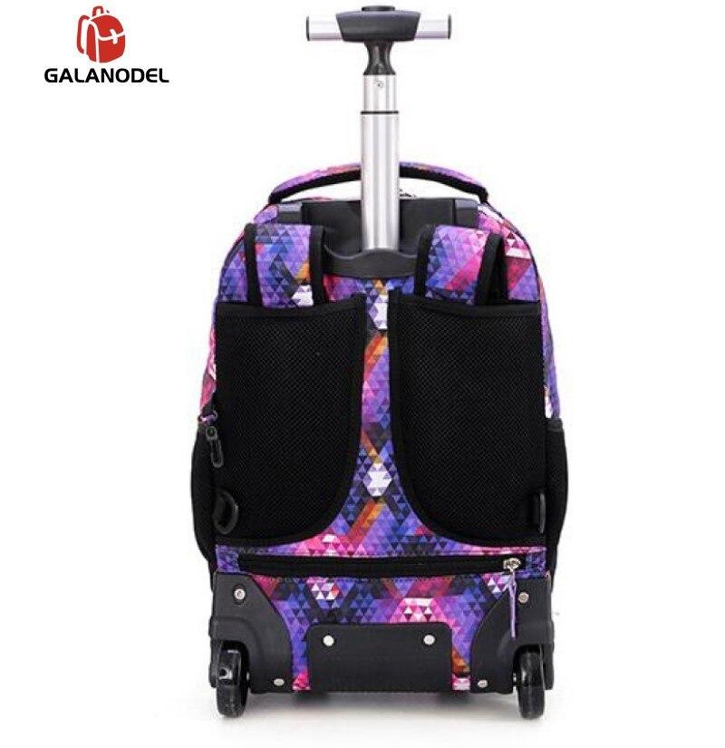 18 Inch Rolling Backpack Travel School Backpacks on Wheel Trolley SchoolBag for Teenagers Boys Children School Bag with Wheels - 4