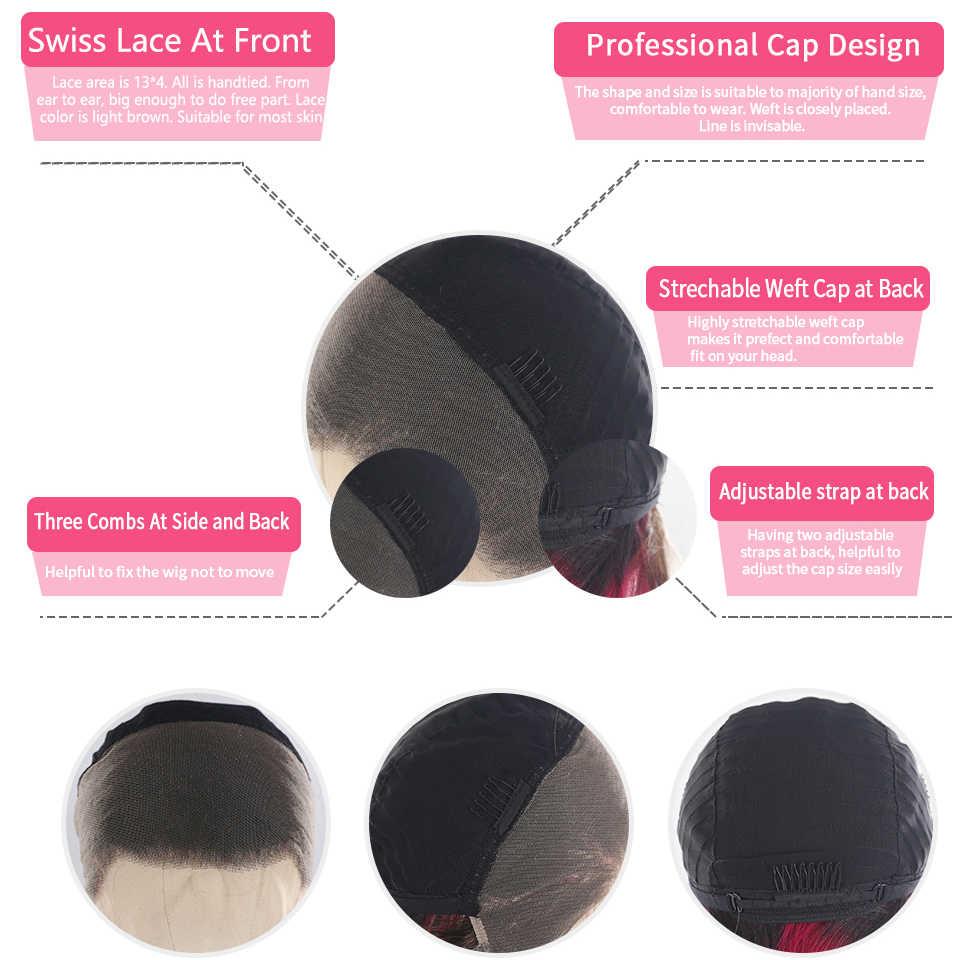 13x4 frente do laço perucas de cabelo humano para preto feminino 33 auburn marrom brasileiro em linha reta pré arrancadas perucas do laço peruca de cabelo remy 150% kemy
