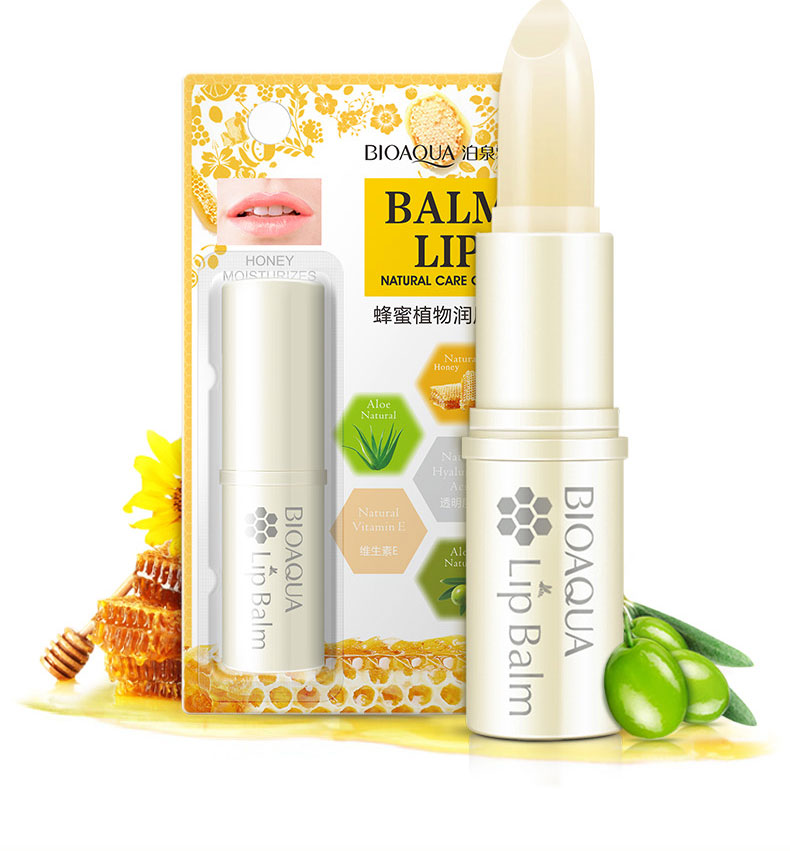 BIOAQUA Natural Aloe Honey Moisturizing Lip Balm Colorless Refine repair lip wrinkles For Woman Winter Lip Care Free Shipping image