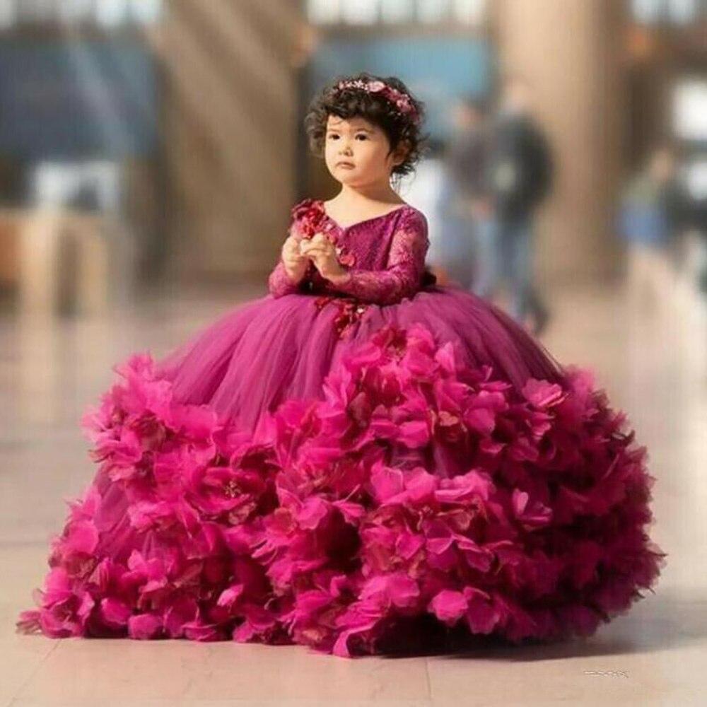 Kinder Formale Tragen Mädchen Pageant Geburtstag Weihnachten Baby Kinder Party Kleid Blume Mädchen Kleider V-ausschnitt Langarm Neue Benutzerdefinierte