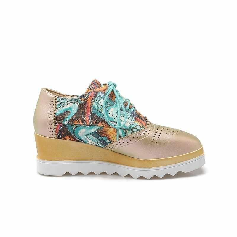 Streetwear ใหม่ 2020 ร้อนขายโรงเรียนพรหมพิมพ์ดอกไม้ Lace Up รองเท้าสำหรับสตรี Chic Brogue แฟชั่นรอบ Toe นักเรียนปั๊ม