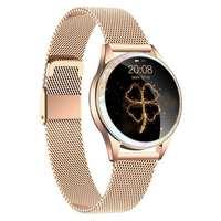 KINGWEAR KW20 ساعة ذكية الإناث الفسيولوجية تذكير المستمر مراقب معدل ضربات القلب Heatlth Smartwatch النساء الذهب الأبيض الأسود