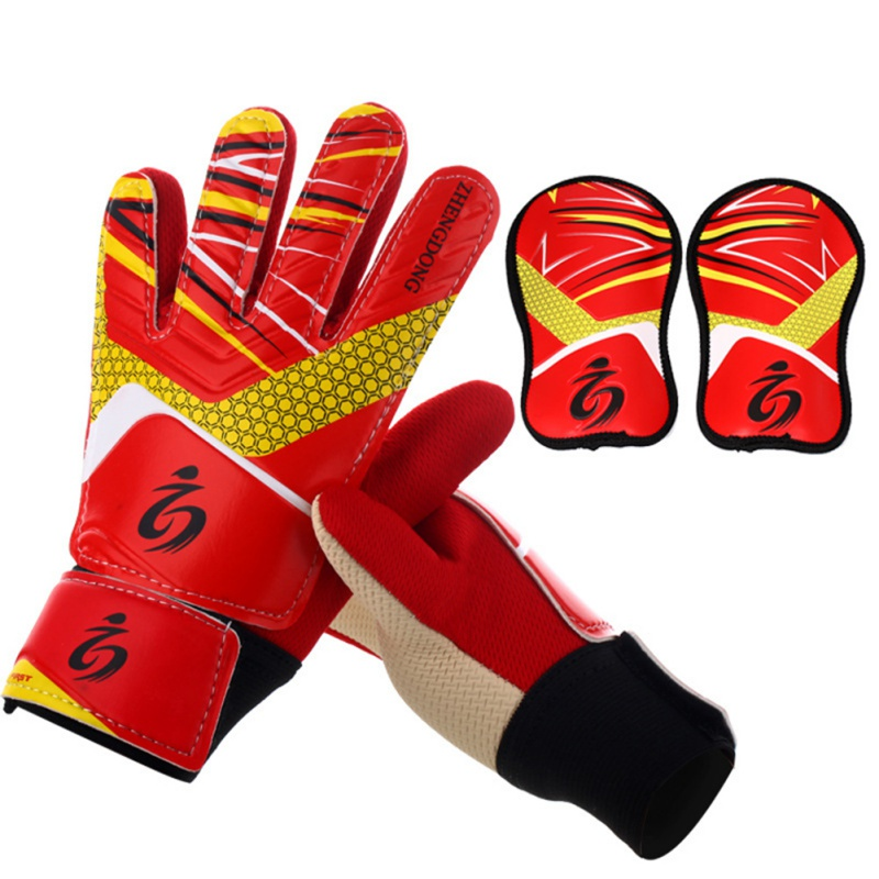 Hot! Kids Football Soccer Goalkeeper Anti-Slip Training Gloves Breathable Gloves With Leg Guard Protector
