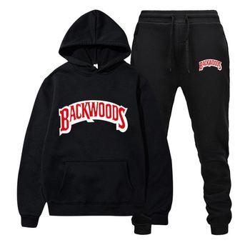 2021Fashion Backwoods Printed Men's Set Fleece Hoodie Pant Warm Tracksuit Sportswear Hooded Track Suits Male Sweatsuit Tracksuit