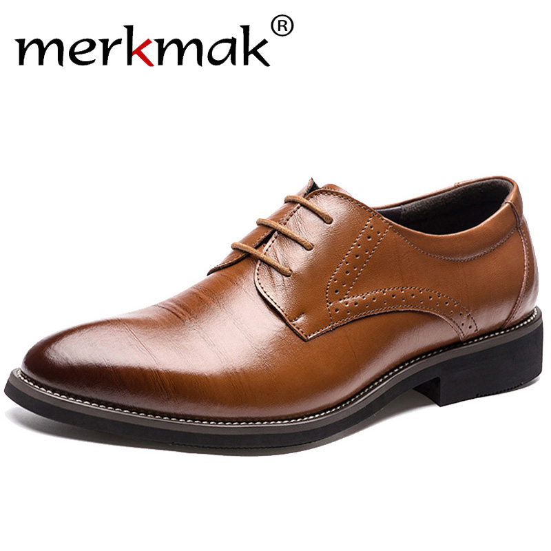 Merkmak New High Quality Classic Leather Men Brogues Shoes Lace-Up Bullock Business Dress Men Oxfords Shoes Male Formal Shoes