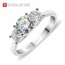 GIGAJEWE Moissanite 1.2ct 5.5mm+2X4.0mm Round Cut EF Color 925 Silver Ring Gold Multi layer Plated Girlfriend Christmas Gift
