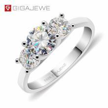 GIGAJEWE Moissanite 1.2ct 5.5mm + 2X4.0mm okrągły Cut EF kolor 925 srebrny pierścień złoty wielowarstwowy Plated dziewczyna prezent na boże narodzenie